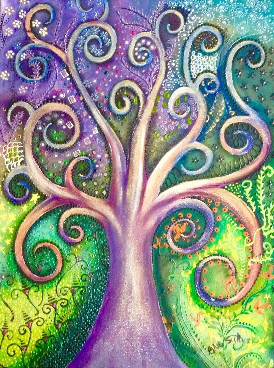 Tree of life cool colors painting by gail sullivan gotartwork kristyandbryce Gallery